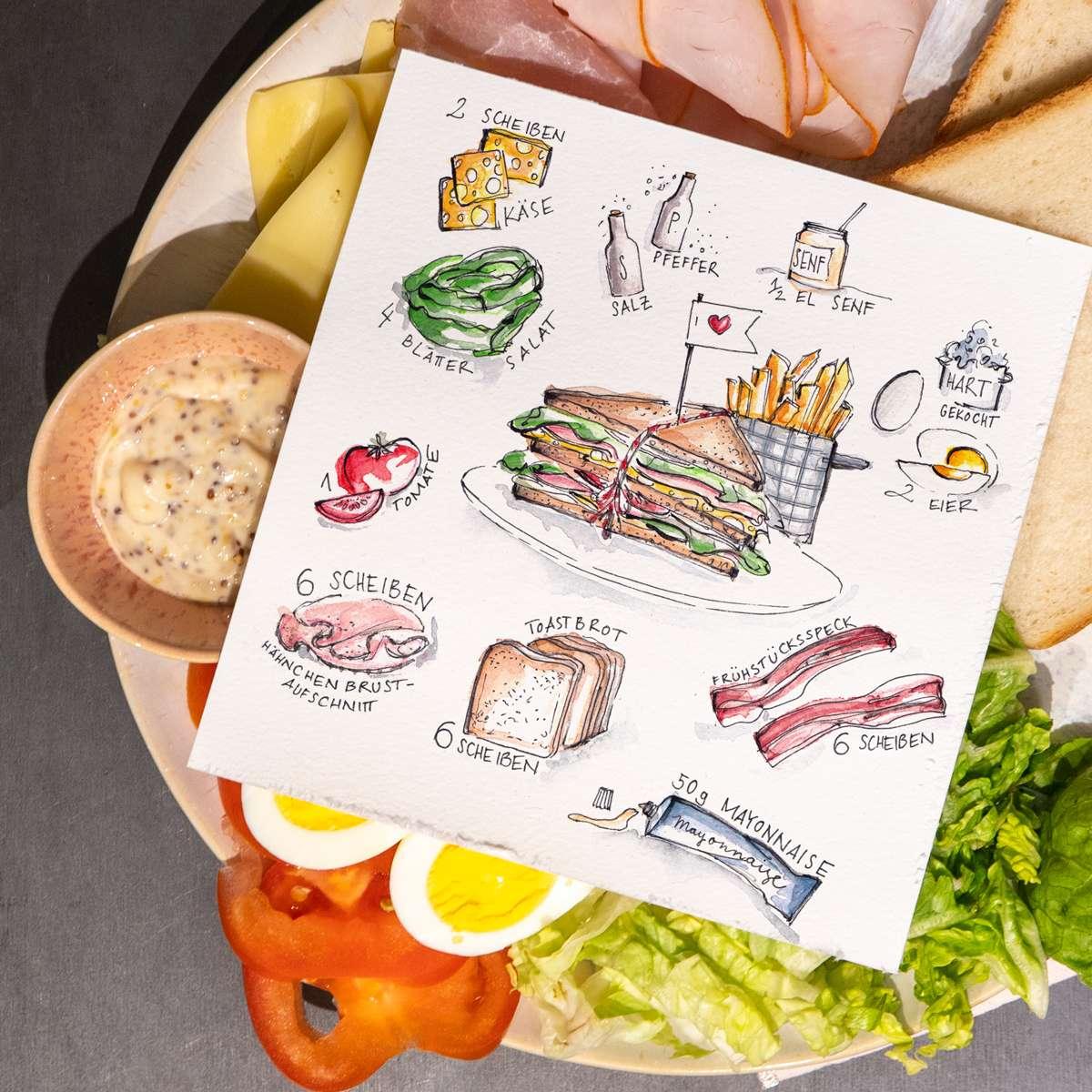 New York Club Sandwich - Illustriertes Rezept von Nadja König