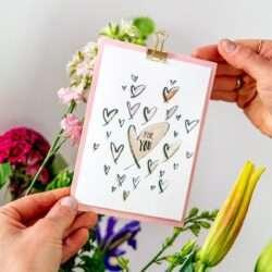 Karte zum Muttertag Herzen