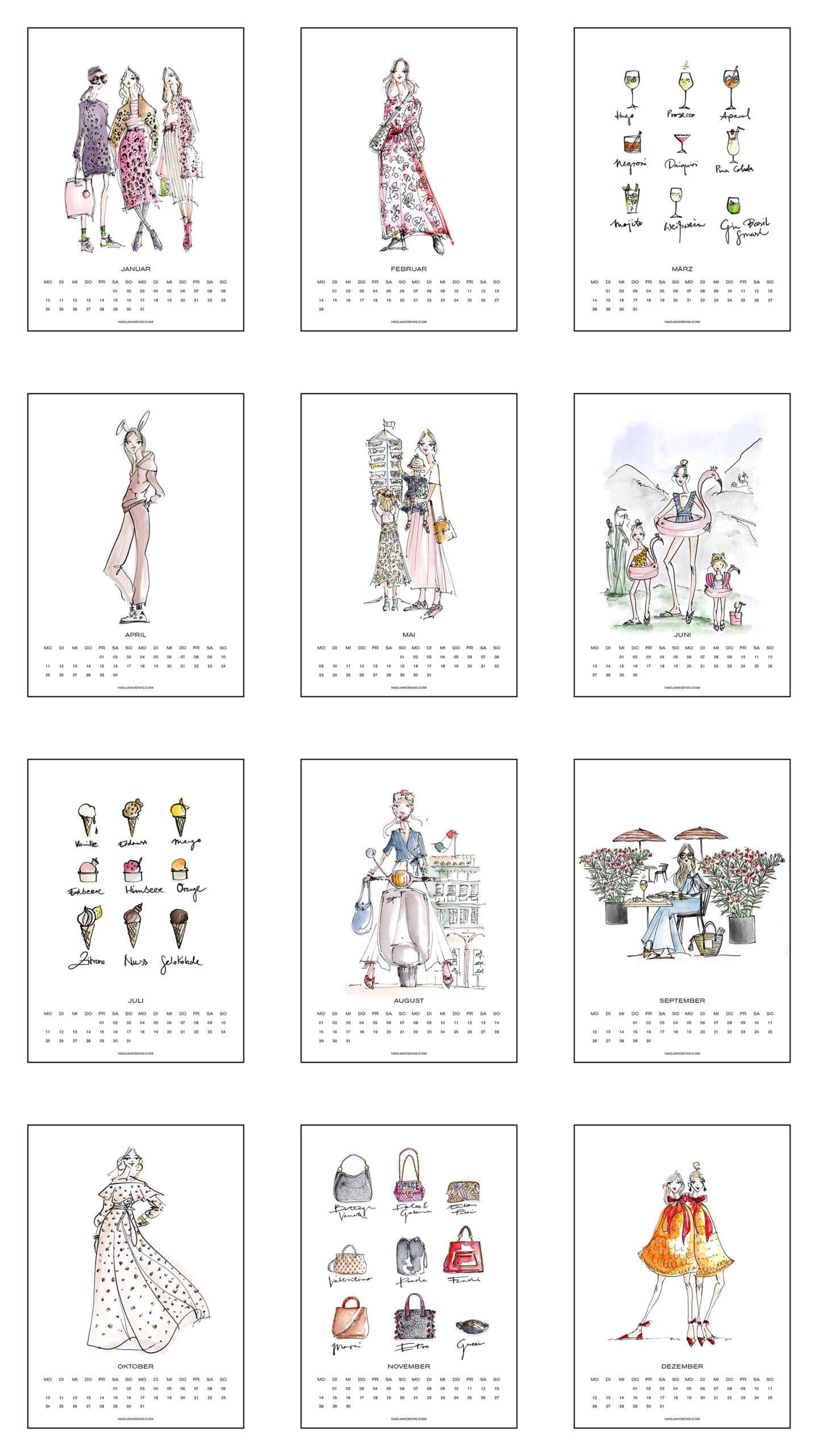 Nadja König Illustration Illustrationen Wandkalender 2022
